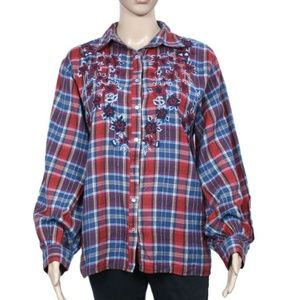 New Free People Embroidered Plaids & Check Shirt M